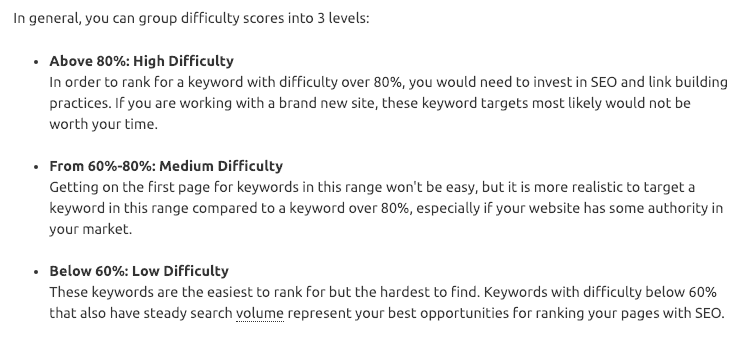 Grouping difficulty scores as high, medium and low