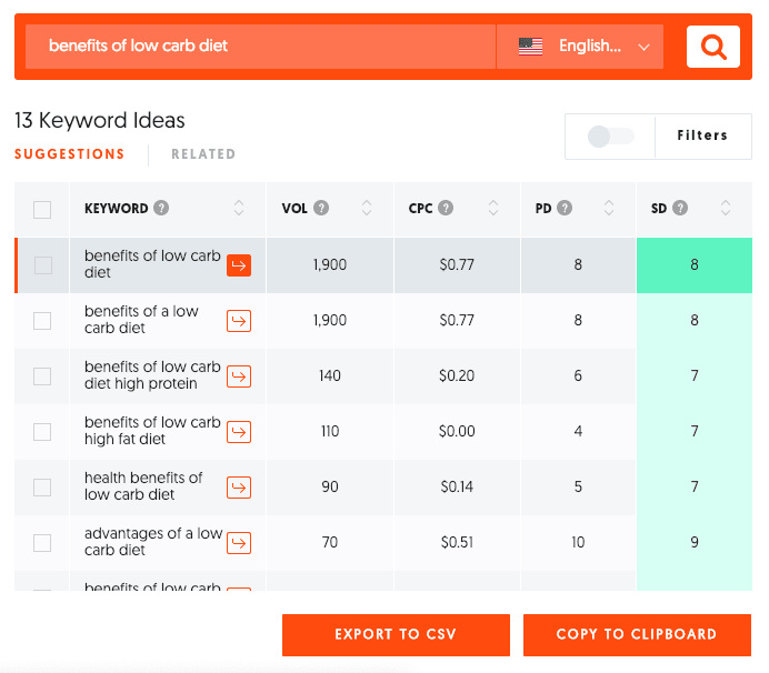 Ubersuggest for keyword research