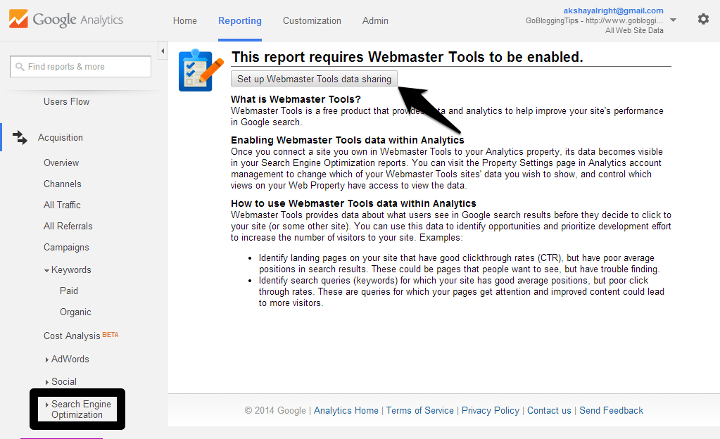Set up Webmaster Tools data-sharing