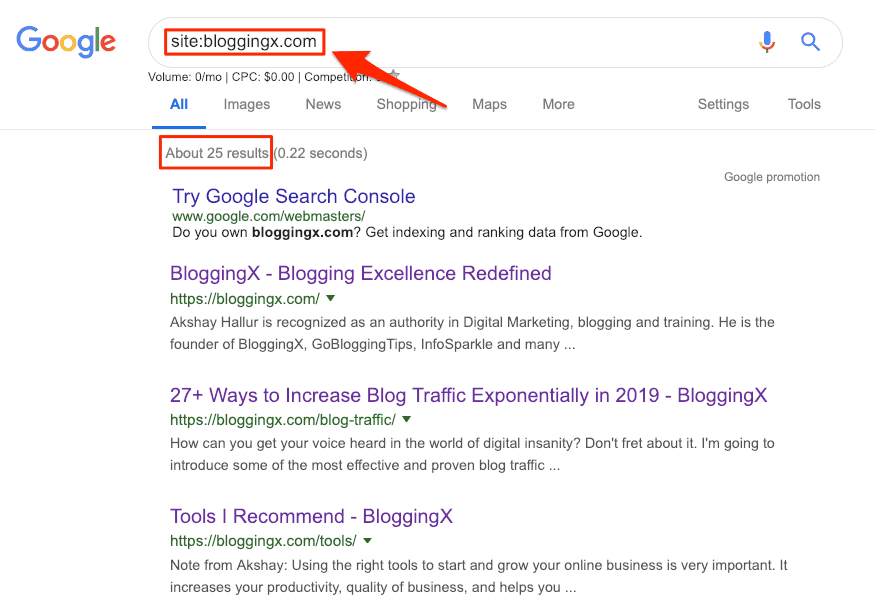 Google site search modifier