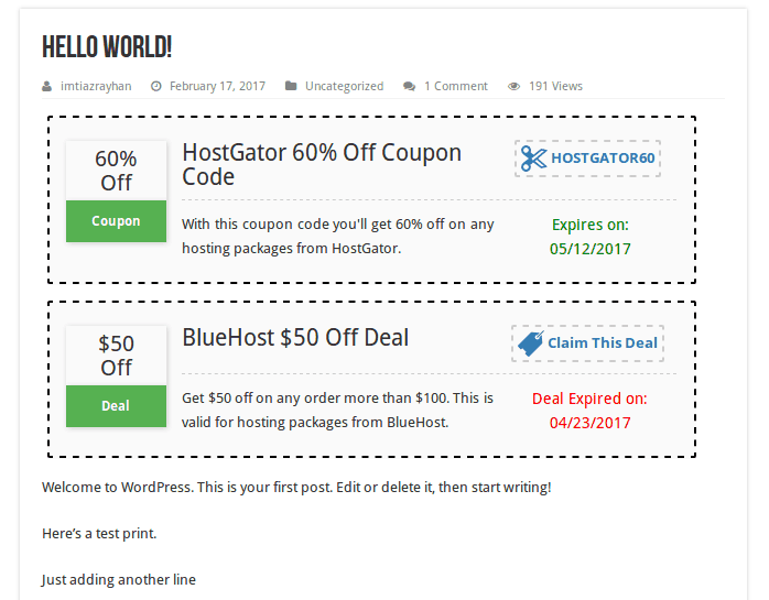 Coupons and deals plugin