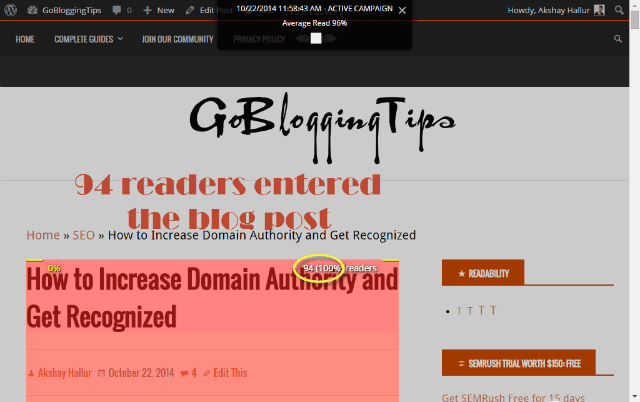 readers who entered for reading blog posts