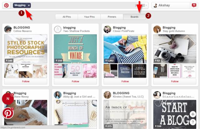 Pinterest niche boards