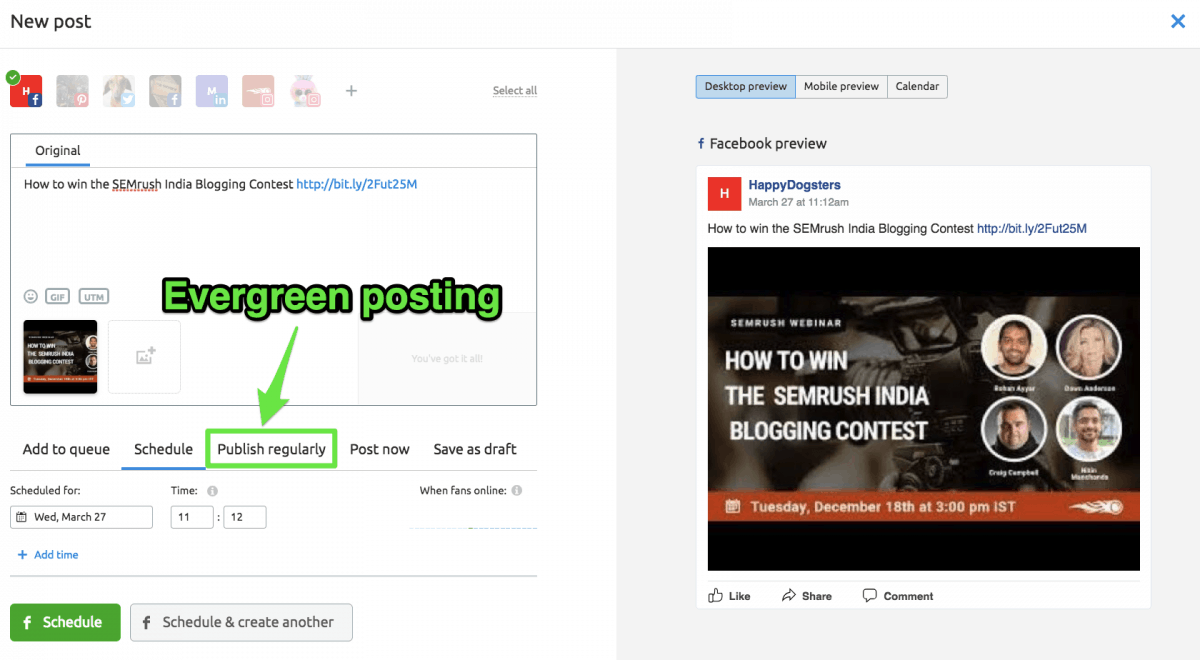 Publishing a specific post regularly to drive traffic