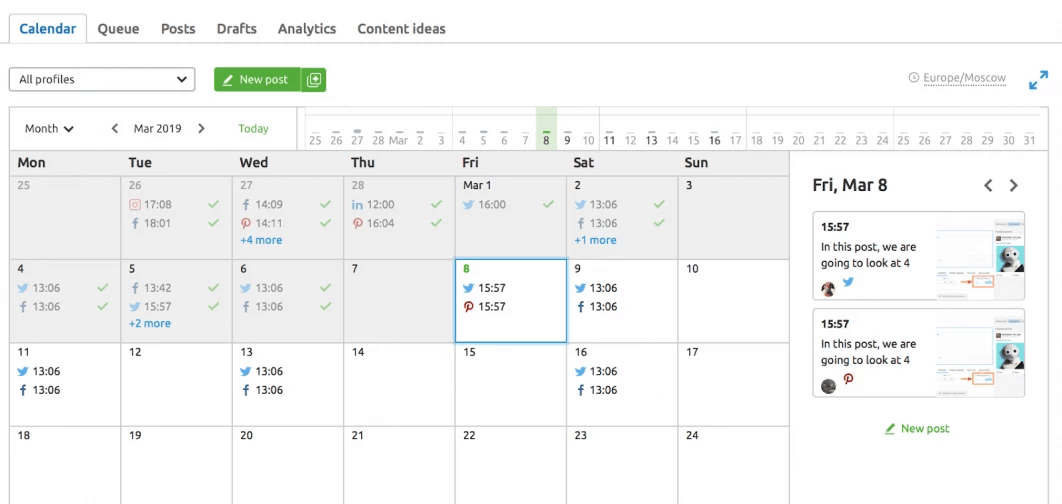 Scheduling the content on social medias