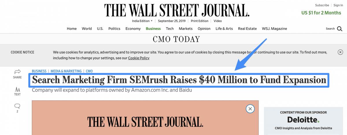 SEMrush funding
