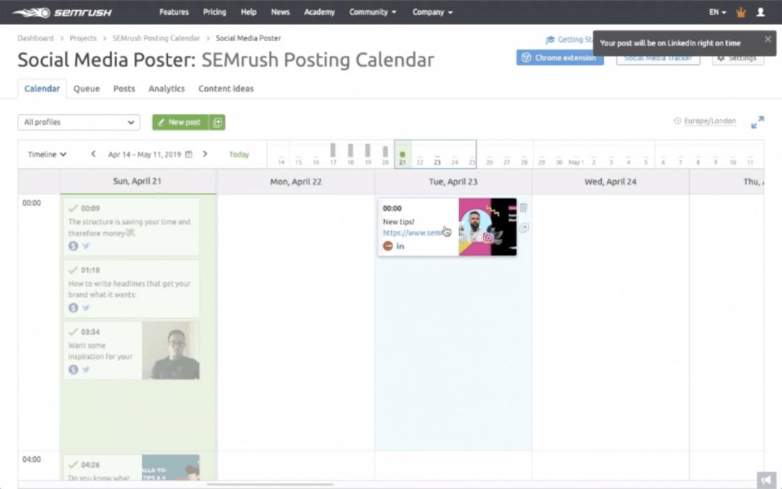 SEMrush Posting Calendar