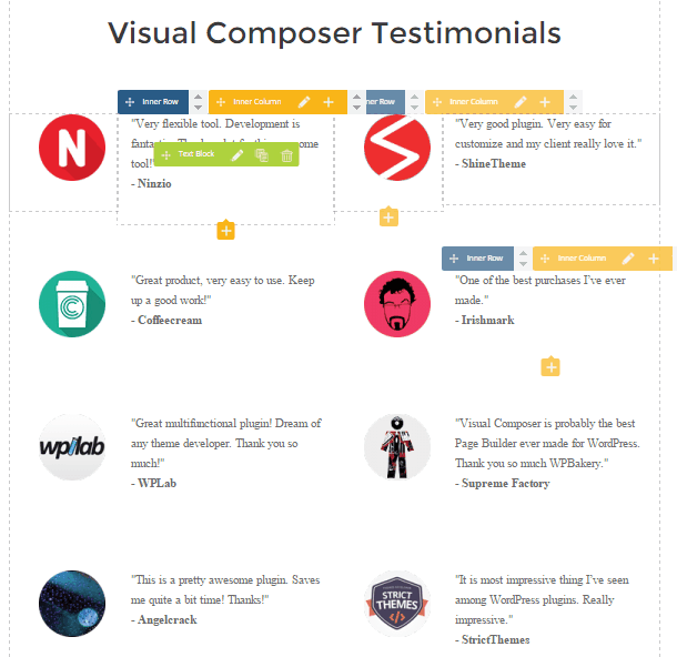 Visual composer testimonials