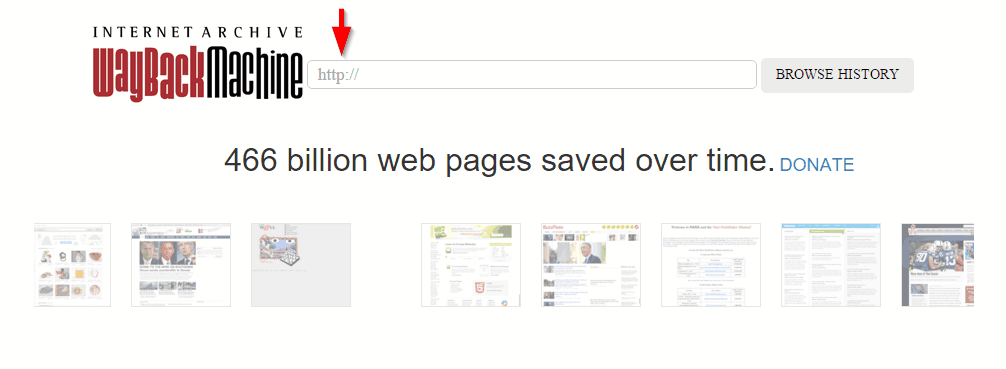 Determining content through Wayback Machine