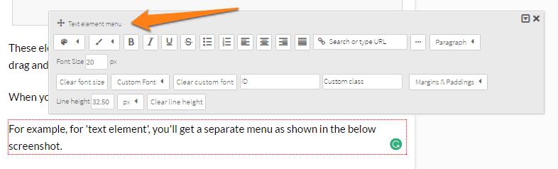 Text element menu