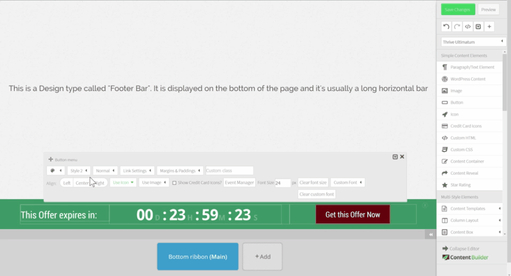 Drag and drop countdown builder