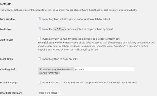 Easyazon defaults