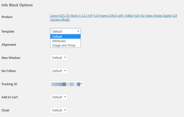 Info block options