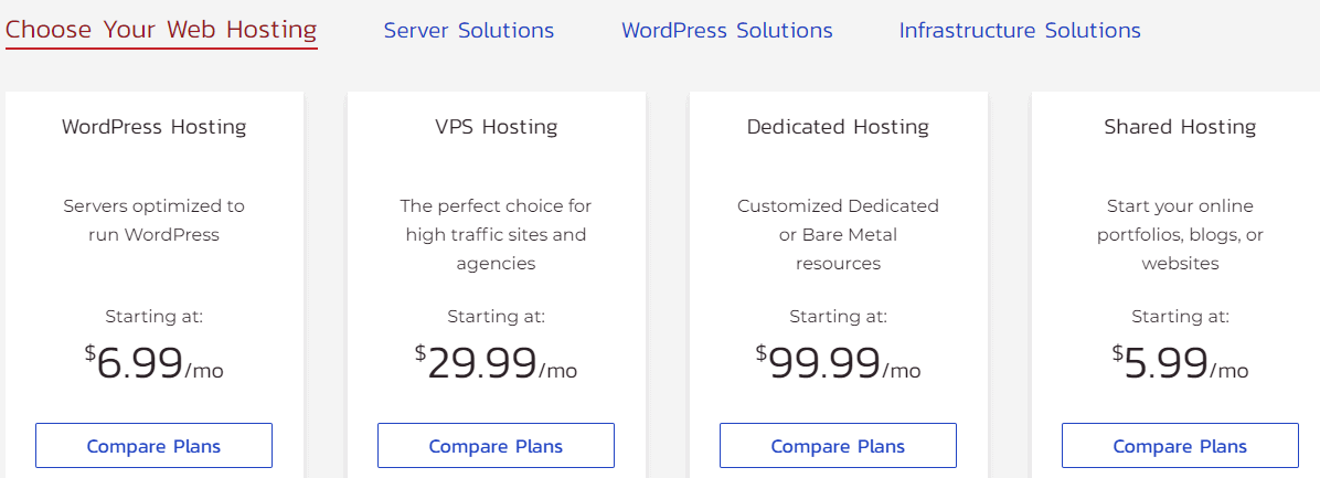 InMotion hosting pricing plans