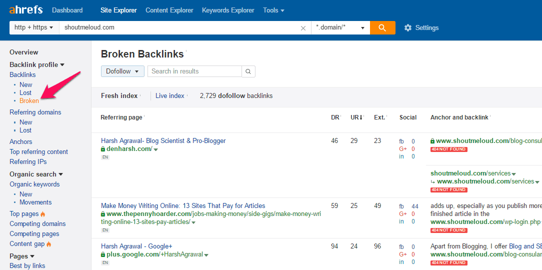Broken backlinks