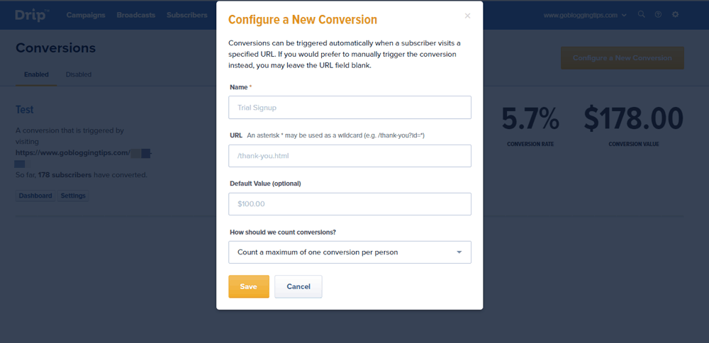 Configure a conversion