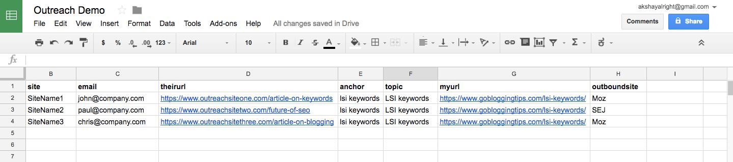 Outreach spreadsheet