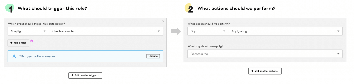Setting simple triggers and actions
