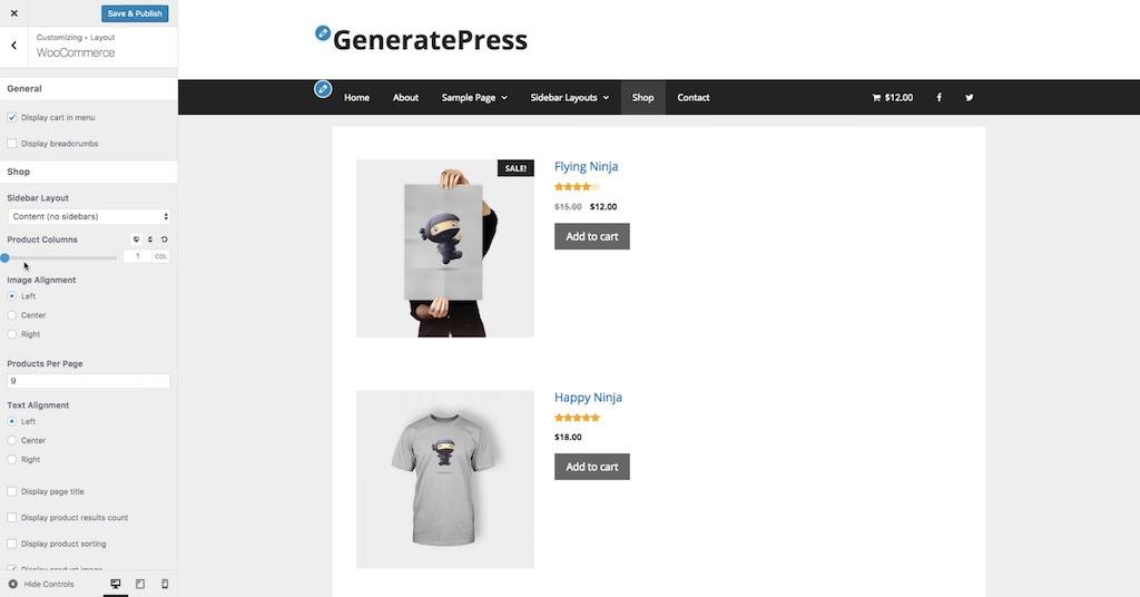 Woocommerce module for GeneratePress