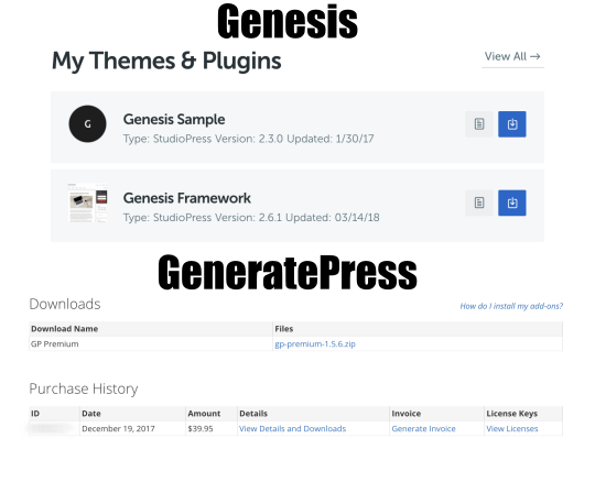 Genesis and GeneratePress