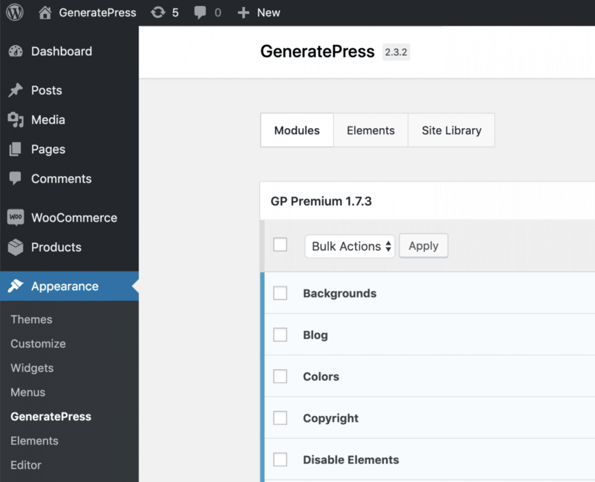 GeneratePress Appearance Options