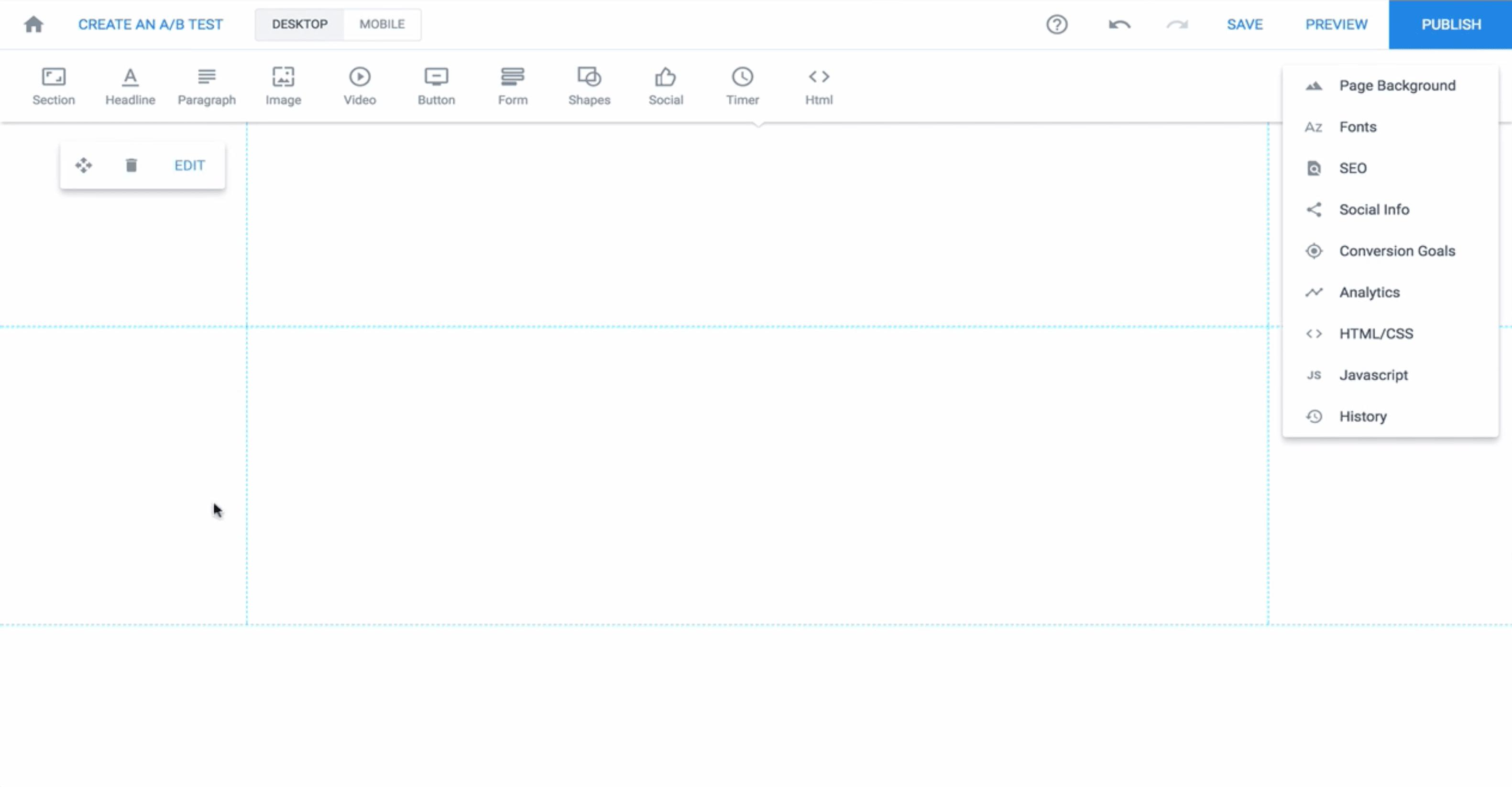 Instapage editor