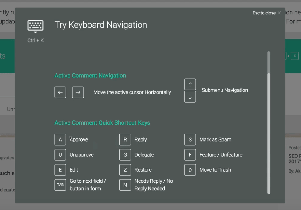 Keyboard shortcuts and keyboard navigation
