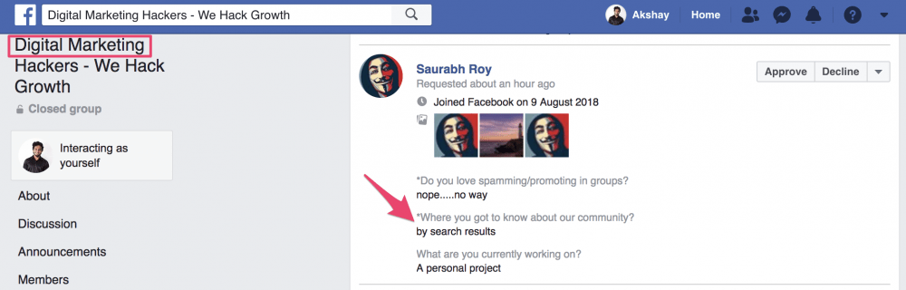 SEO for FB groups