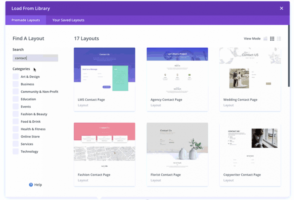 Divi Builder templates