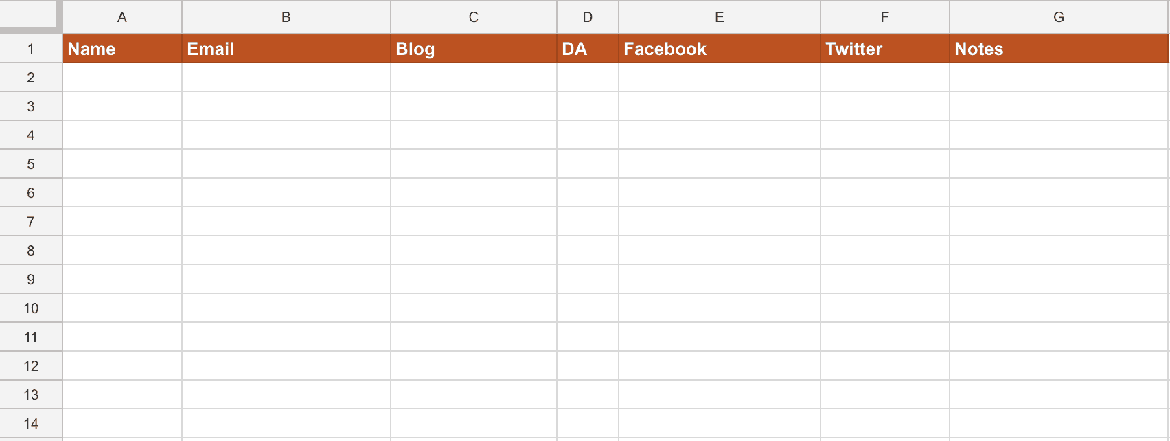 Excel or Google sheet