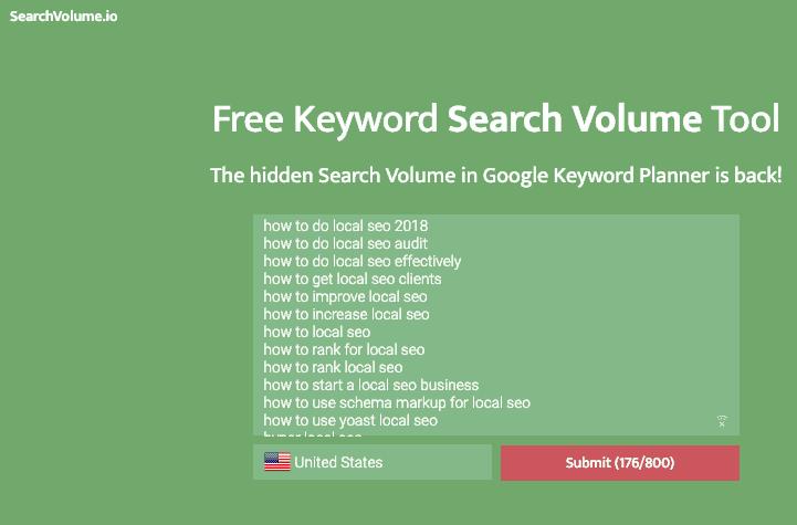 Checking keyword volume
