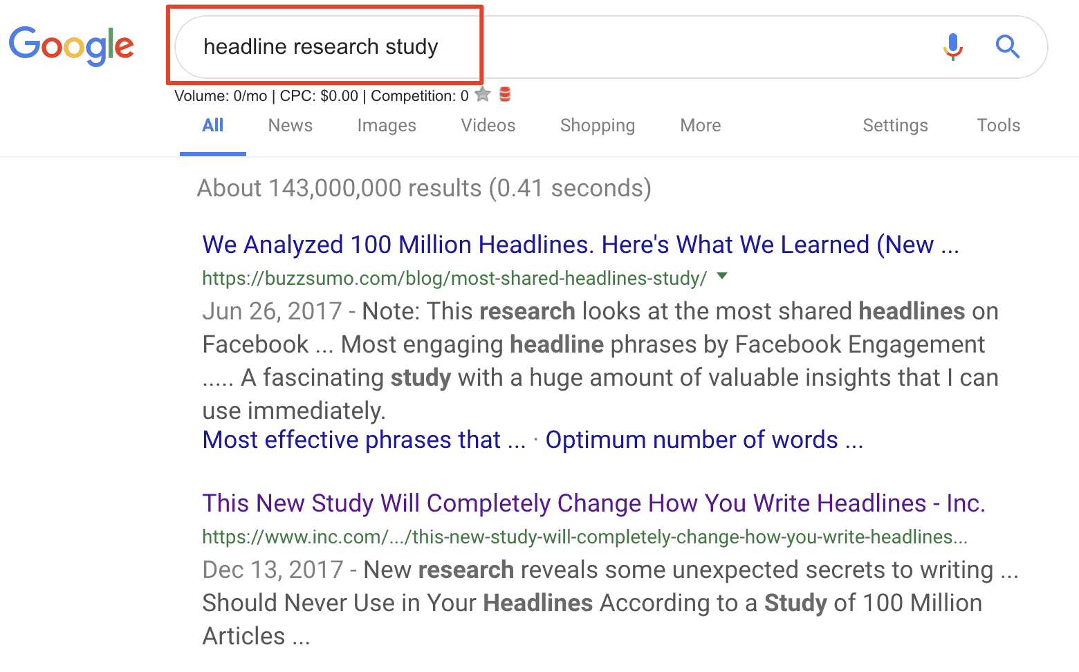 Headlines research study
