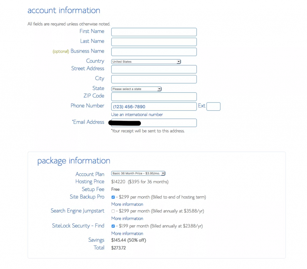 Personal and payment details