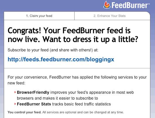 Feedburner feed live