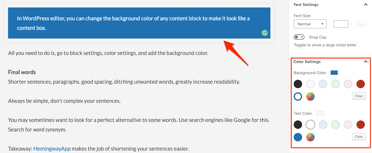 Wordpress background color block editor