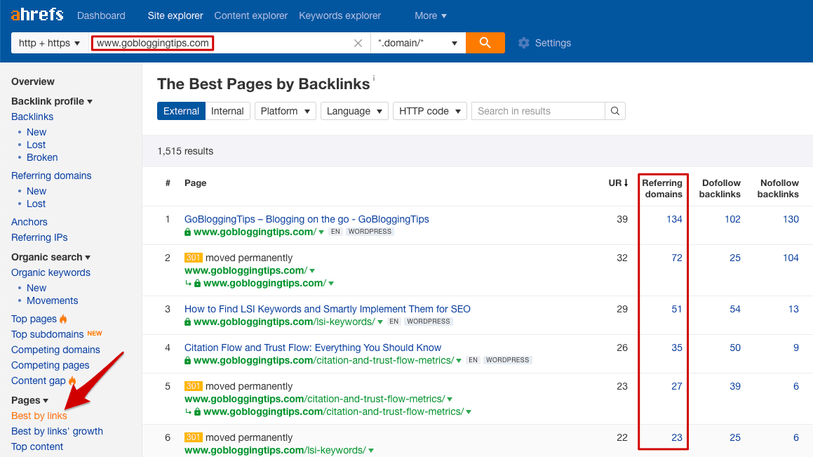 Analyse backlinks in Ahrefs