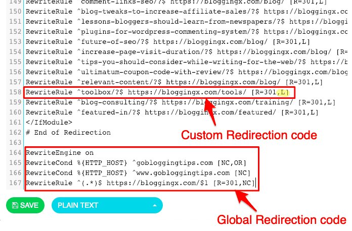 Issue where global redirect code was overriding the custom redirection code