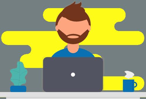 Man With Laptop Yellow Splash