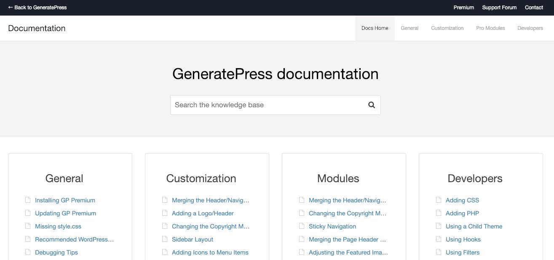 GeneratePress Docs