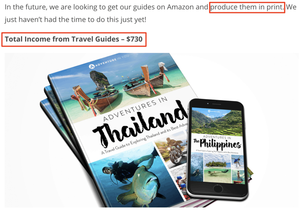 Income generation through travel guides