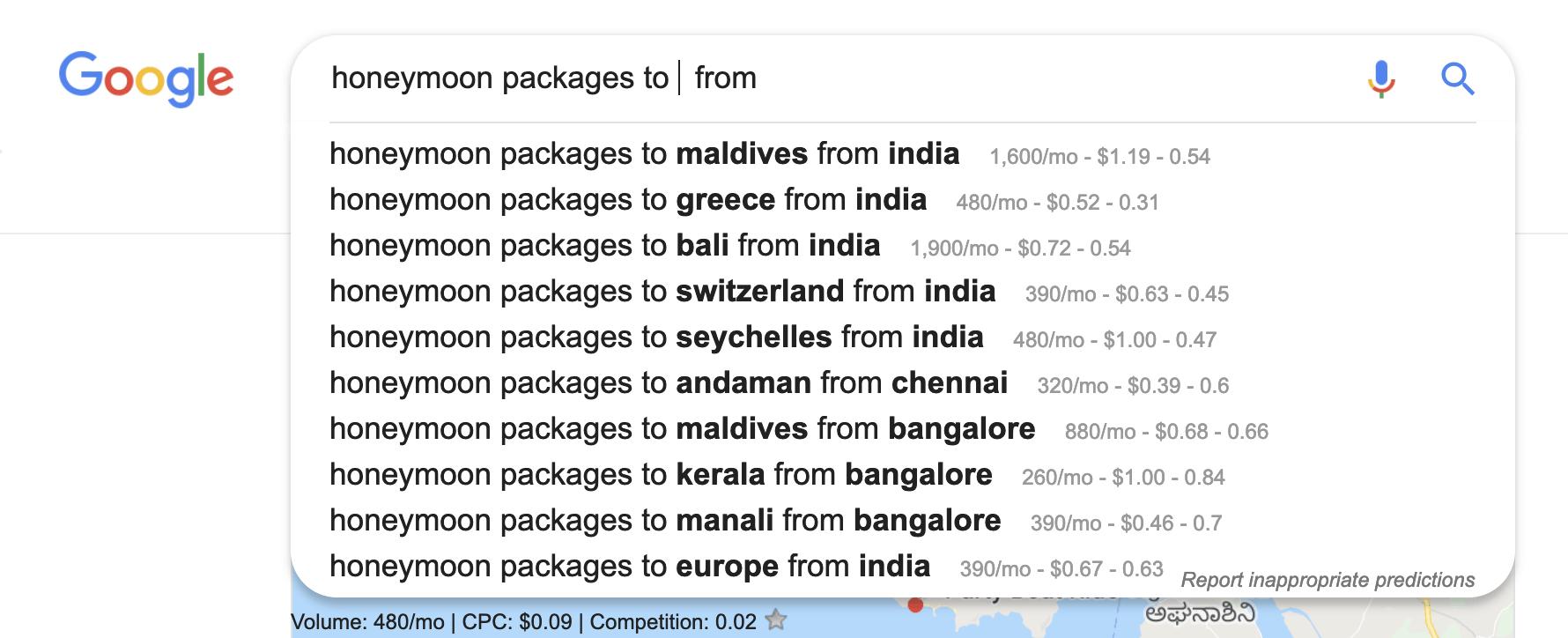 Keyword honeymoon packages