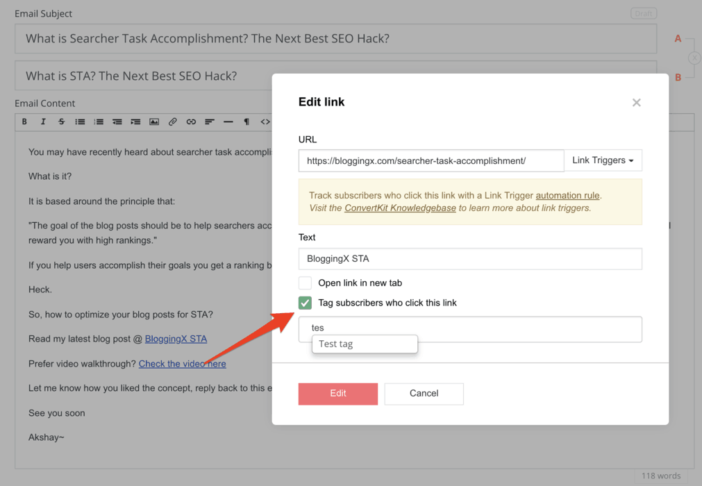 Tagging feature offered by ConvertKit