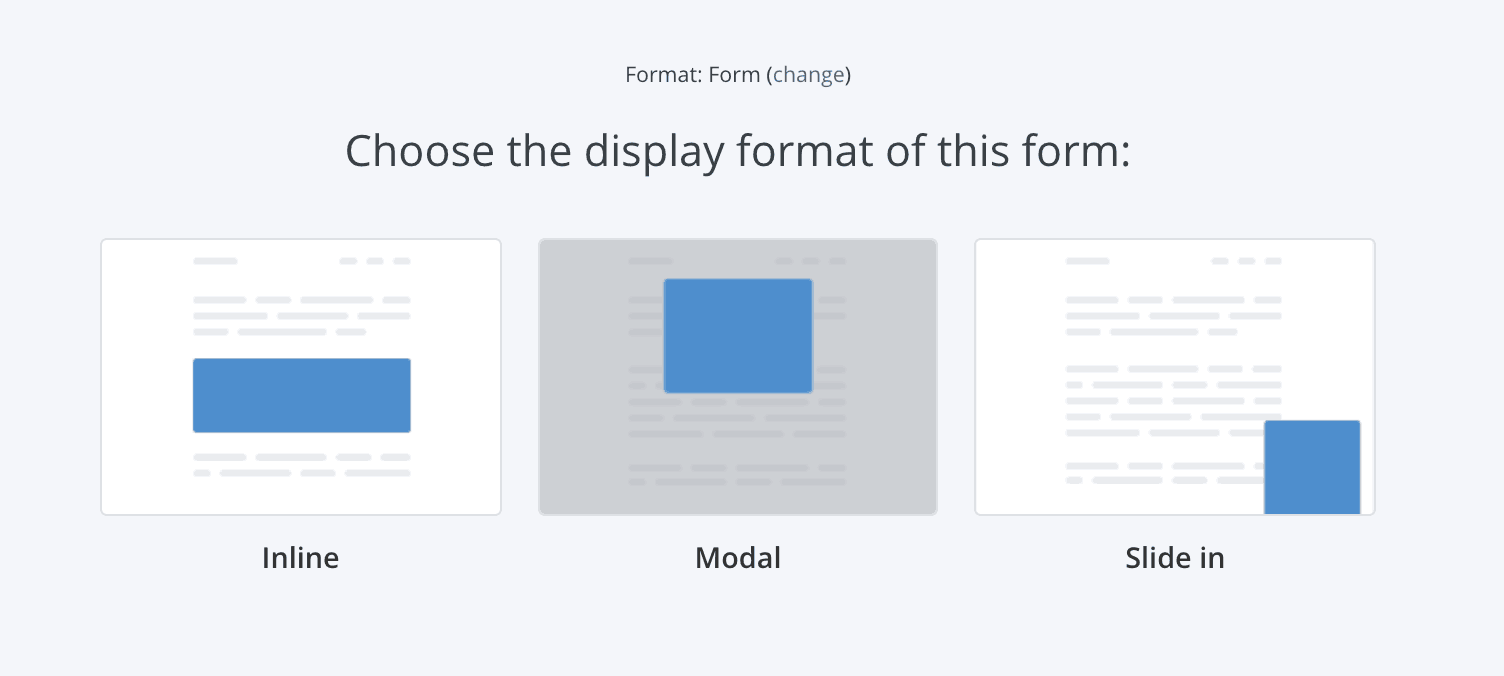 Three formats of forms