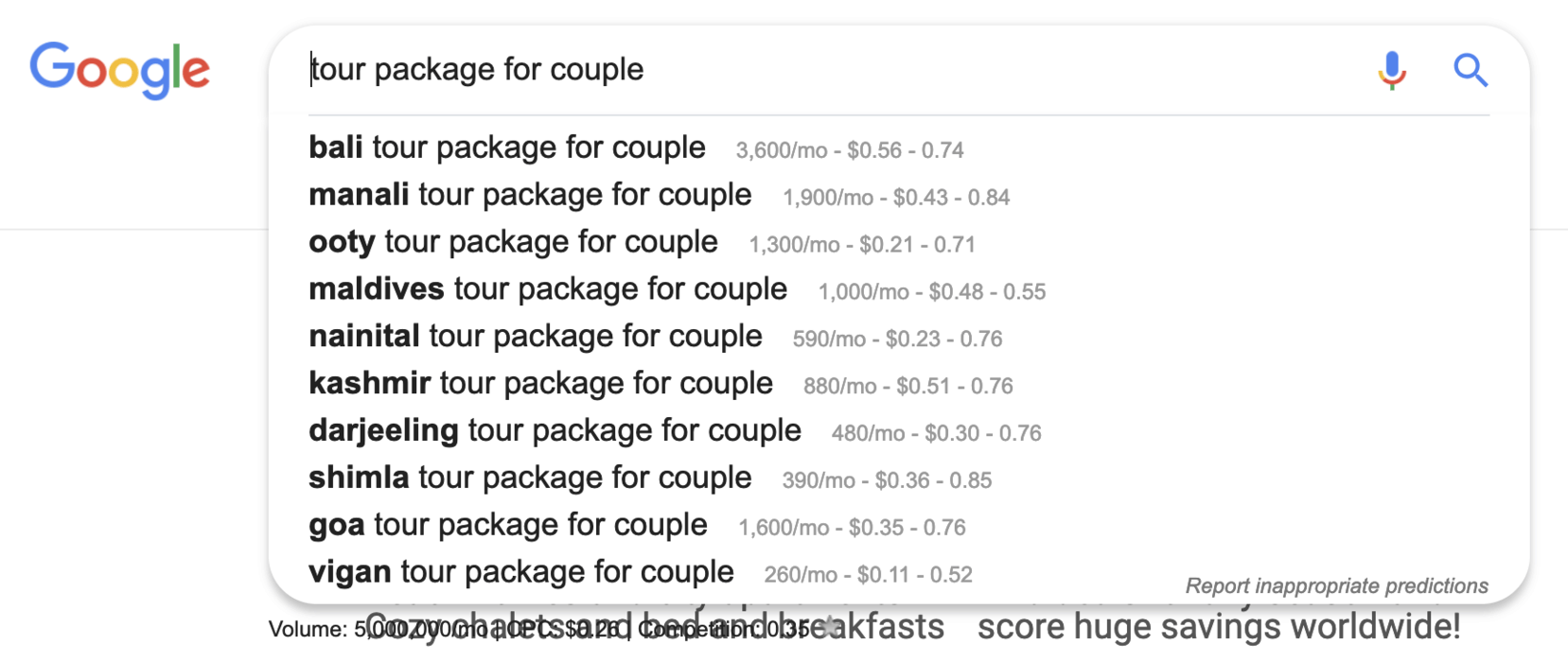 Tour package for couple
