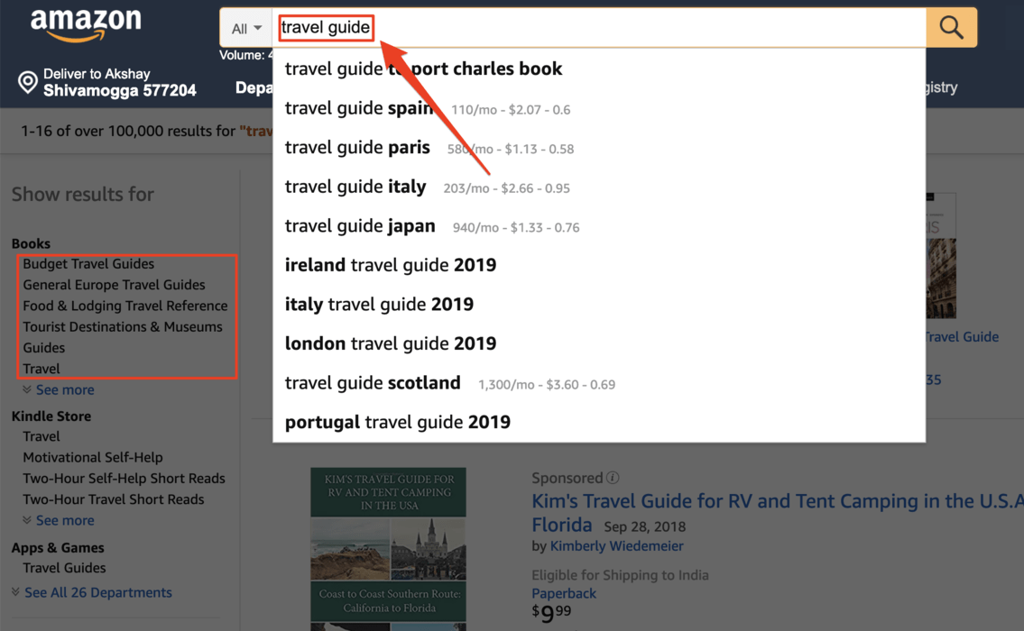 Travel guides on Amazon