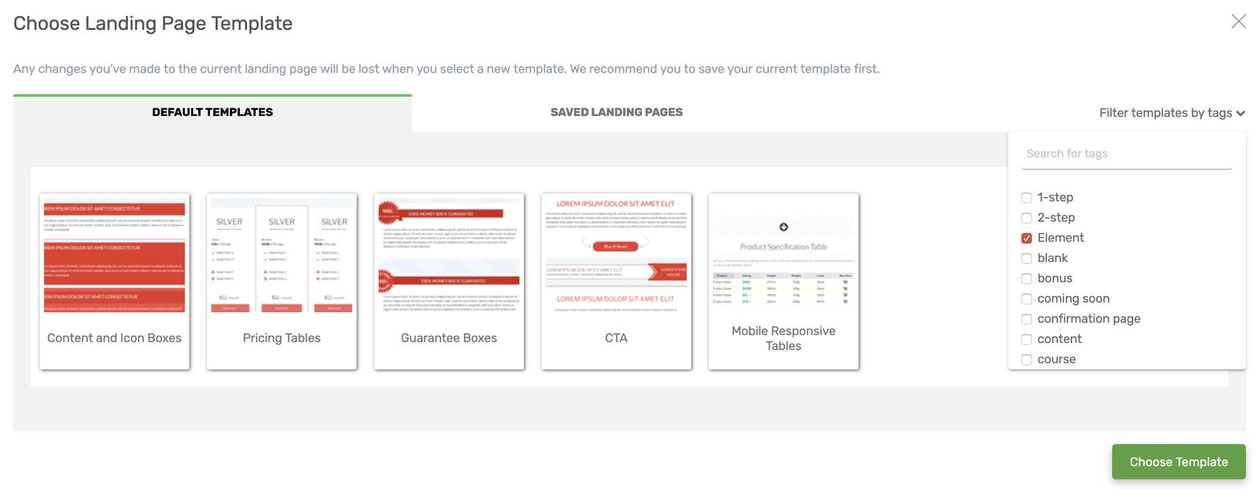 Choosing Landing page templates