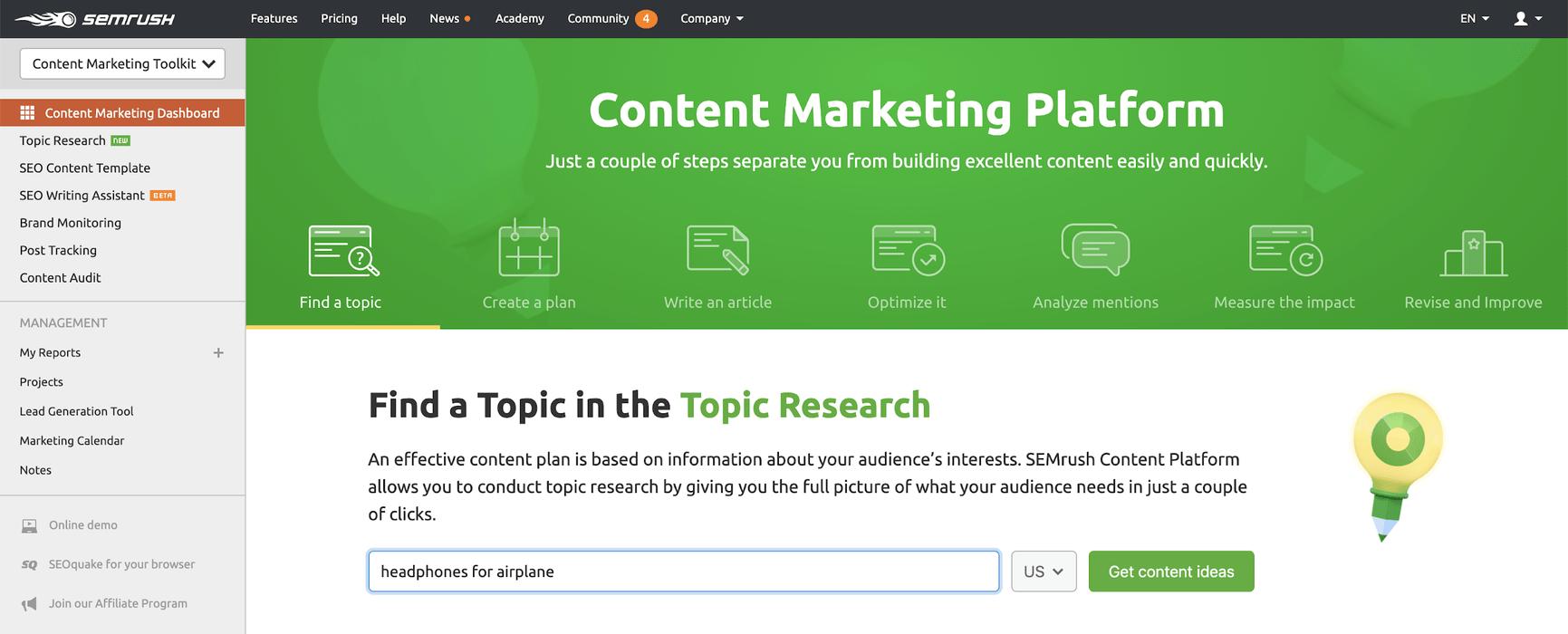 SEMrush's topic research tool