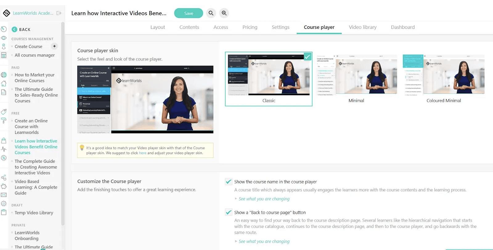 LearnWorlds interace