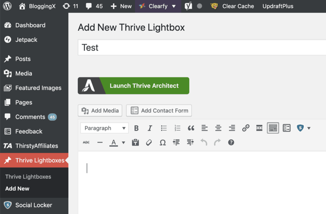 Thrive Lightbox