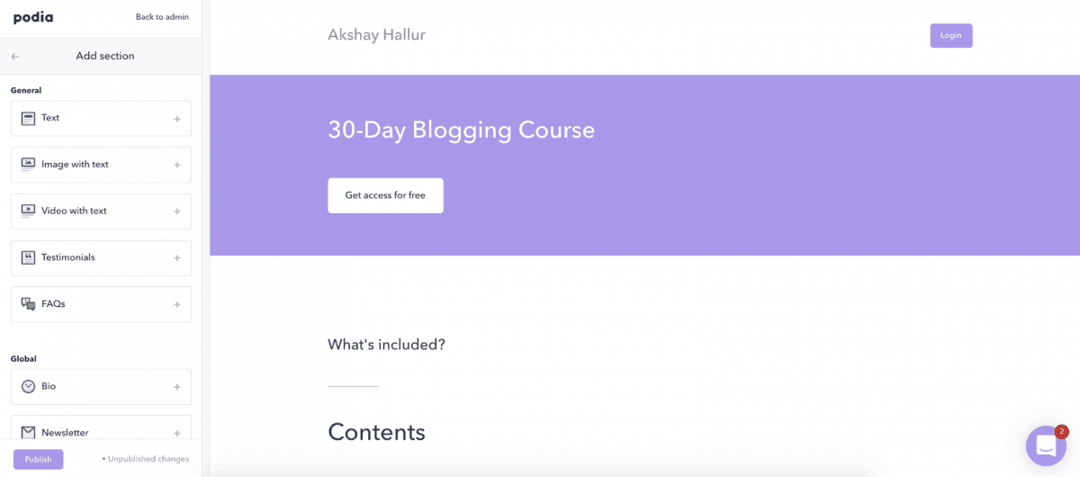 Customizing the course page